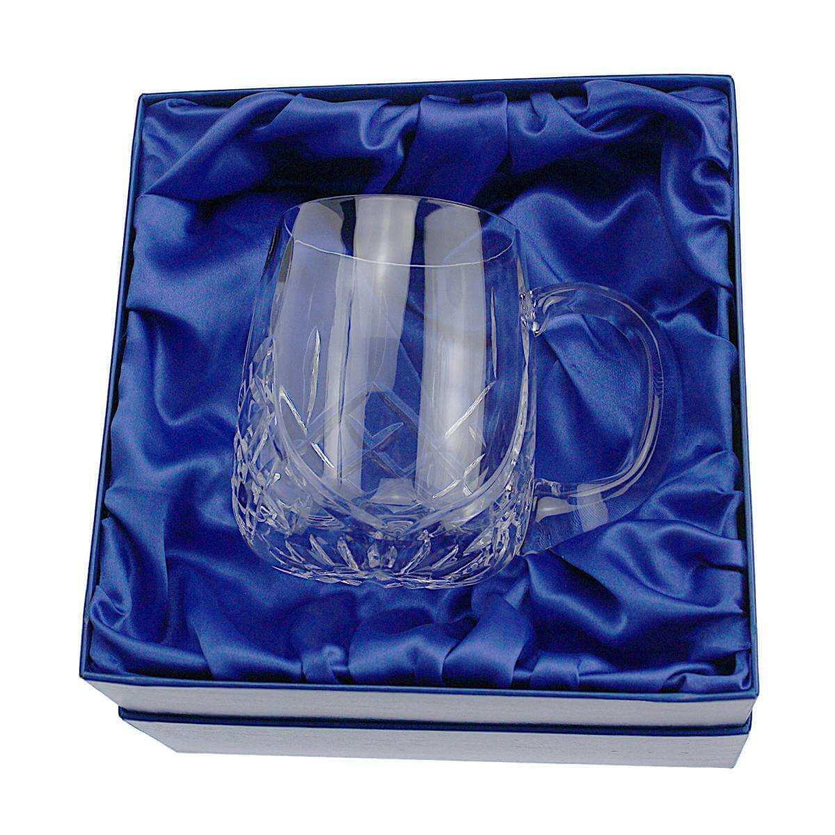 Lead Crystal Cut 1 Pint Glass Short Round Tankard