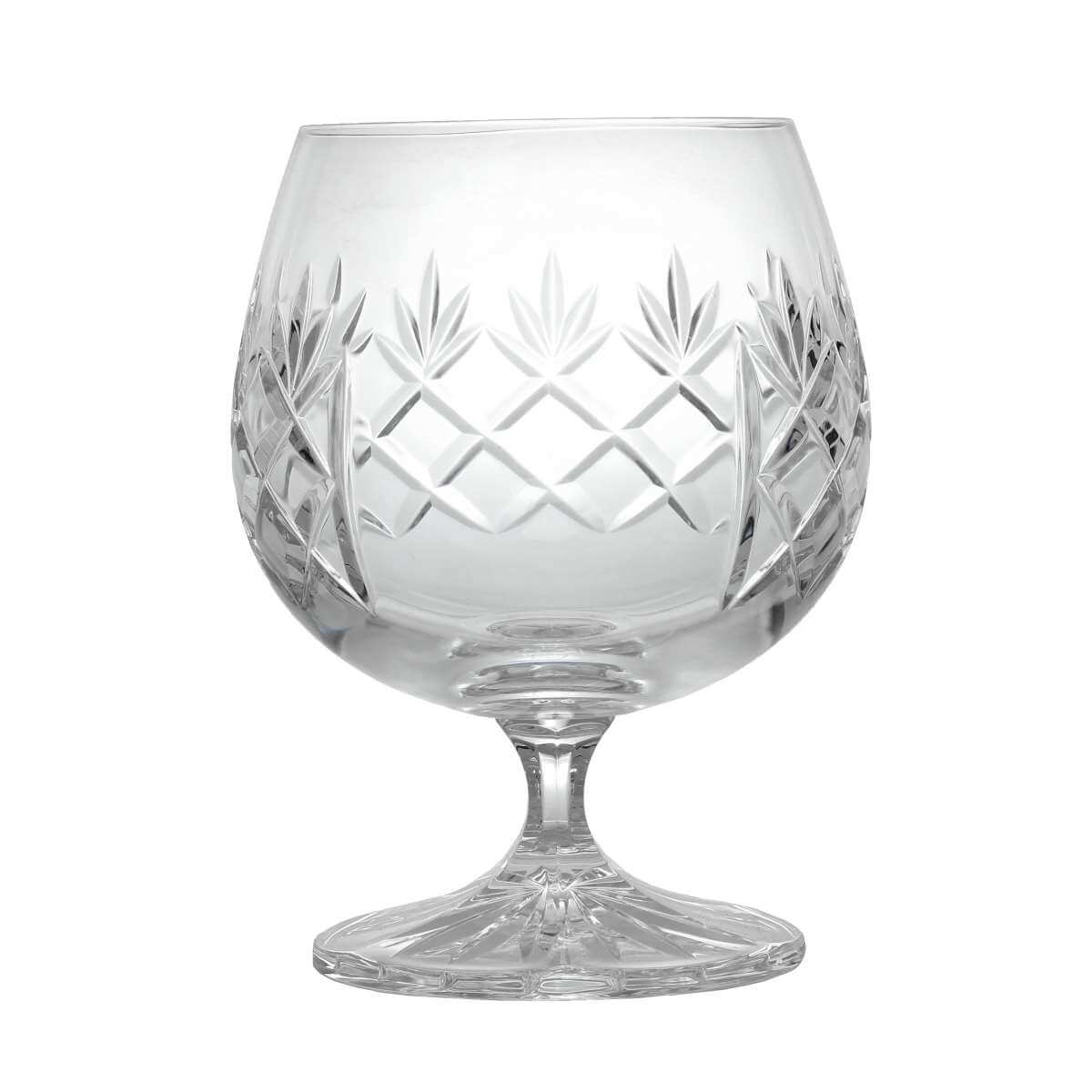 Large Hand Cut Crystal Brandy Glass