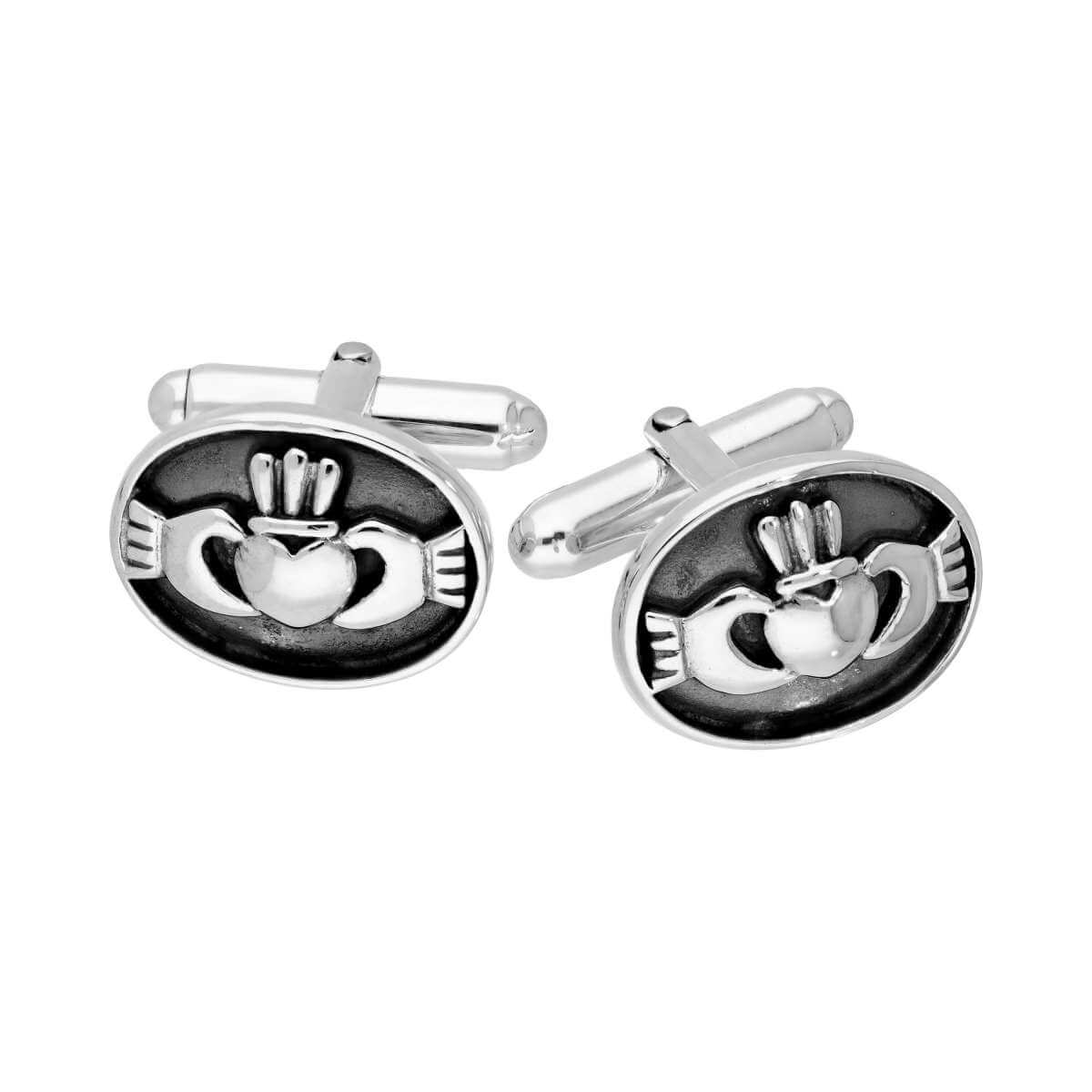 Sterling Silver Oval Claddagh Swivelback Cufflinks