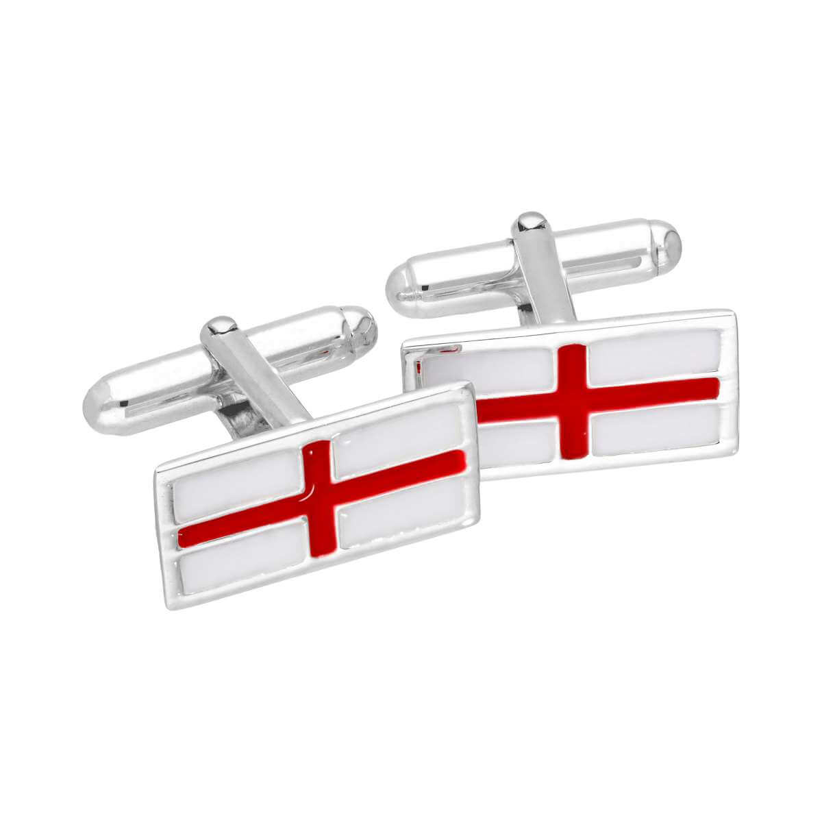 Sterling Silver & Enamel English Flag Swivelback Cufflinks