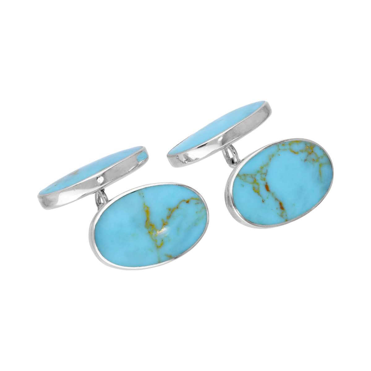 Sterling Silver & Turquoise Oval Double-Sided Cufflinks