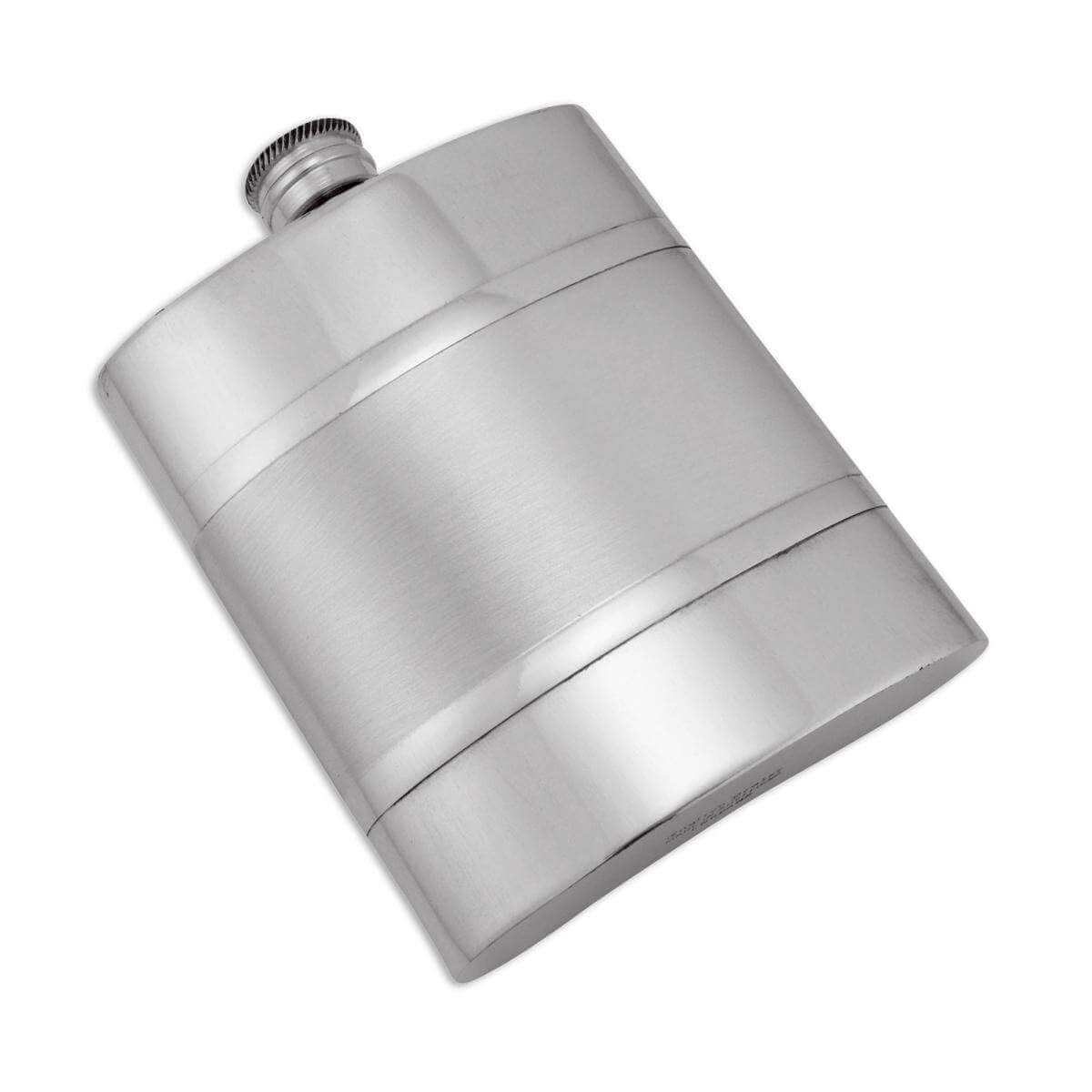 6oz Handmade Pewter Hip Flask with Satin Band