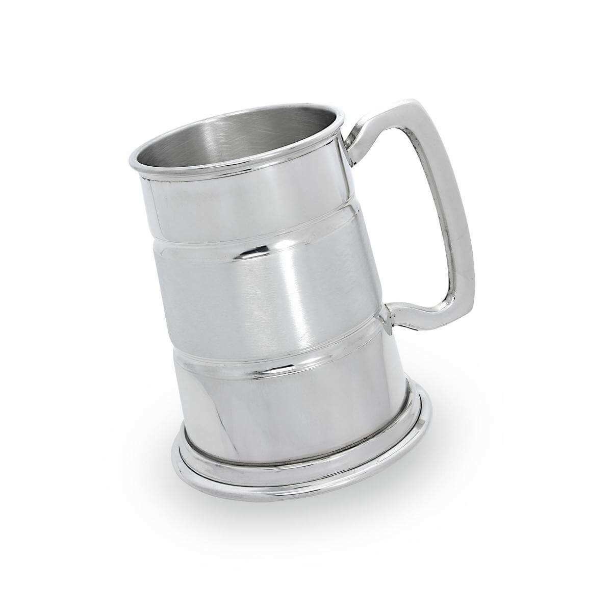 Handmade Pewter Satin Band 1 Pint Tankard