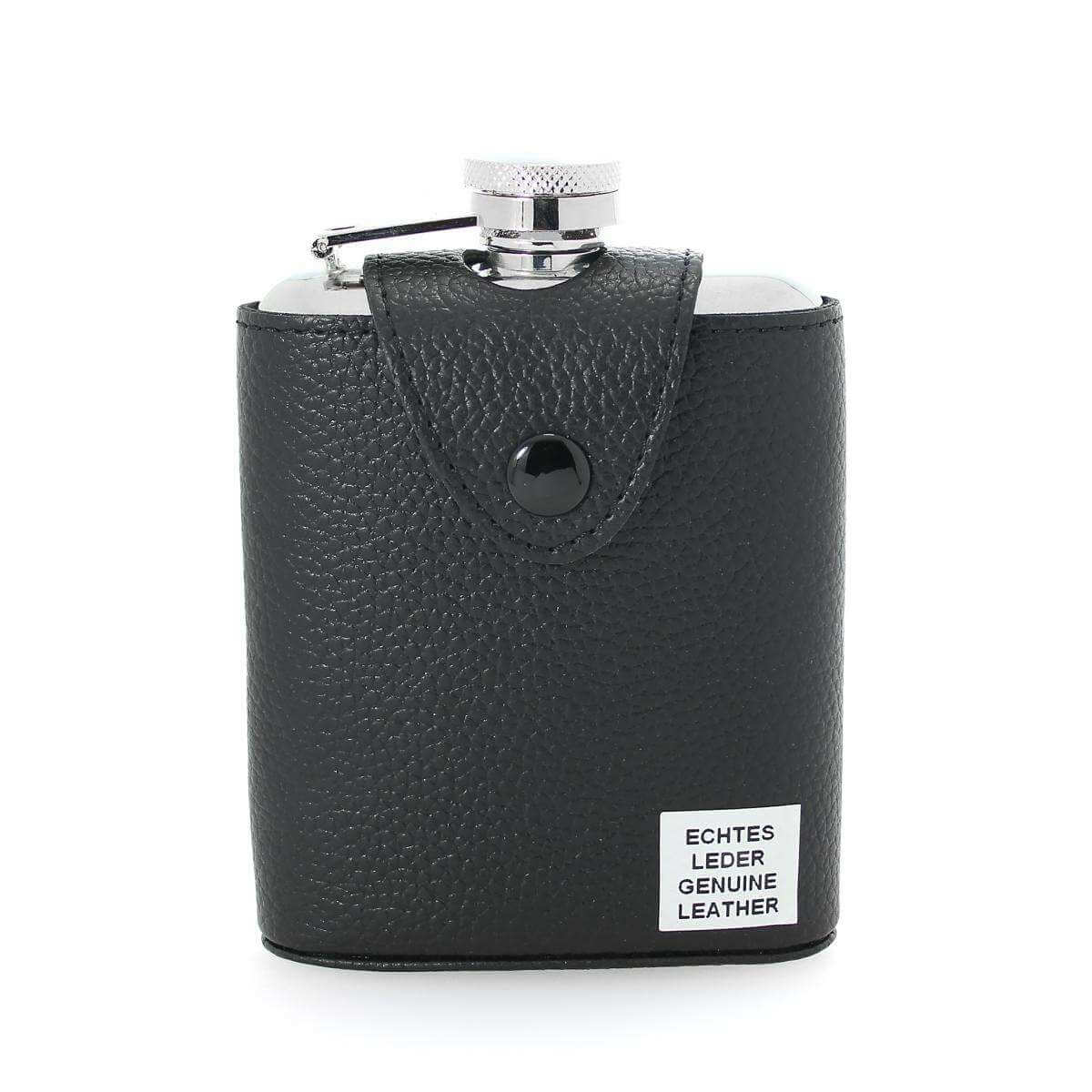 6oz Black Leather & Stainless Steel Captive Top Hip Flask w Stainless Steel Funnel