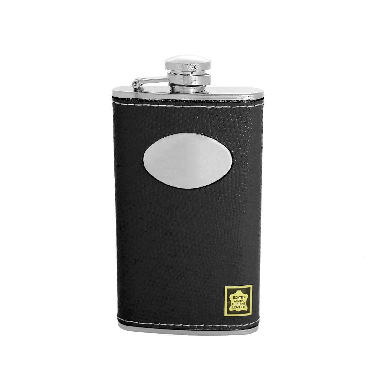 4oz Stainless Steel & Genuine Black Leather Engravable Hip Flask w Funnel