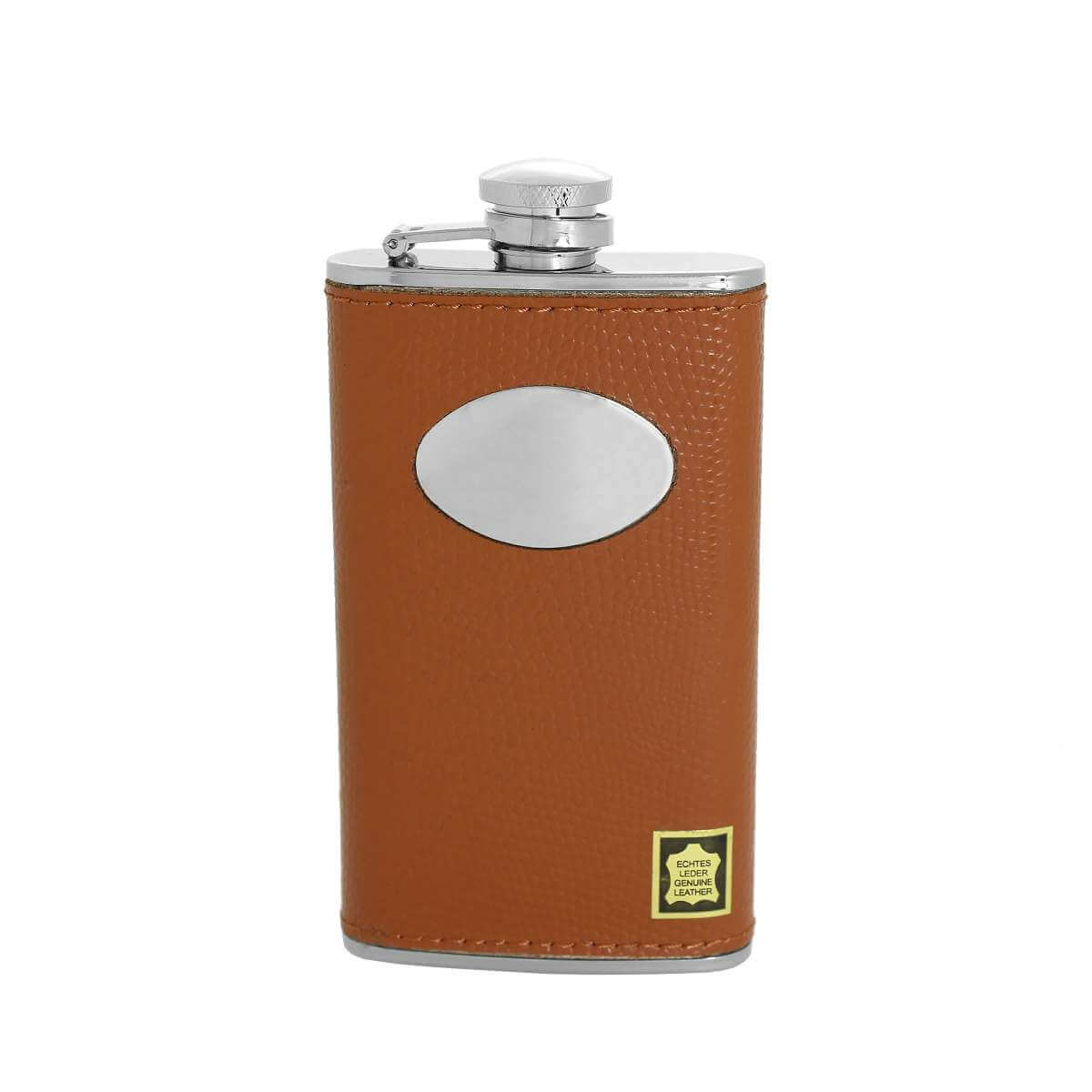 4oz Stainless Steel & Genuine Tan Leather Engravable Hip Flask w Funnel