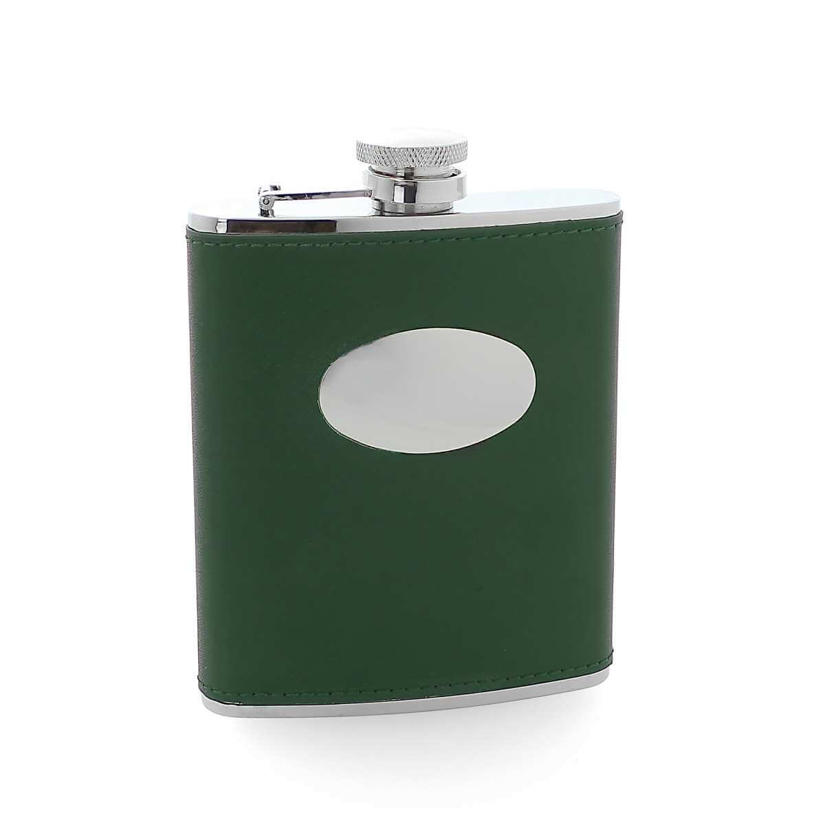 6oz Stainless Steel & Green Leather Hip Flask with Engraving Plate