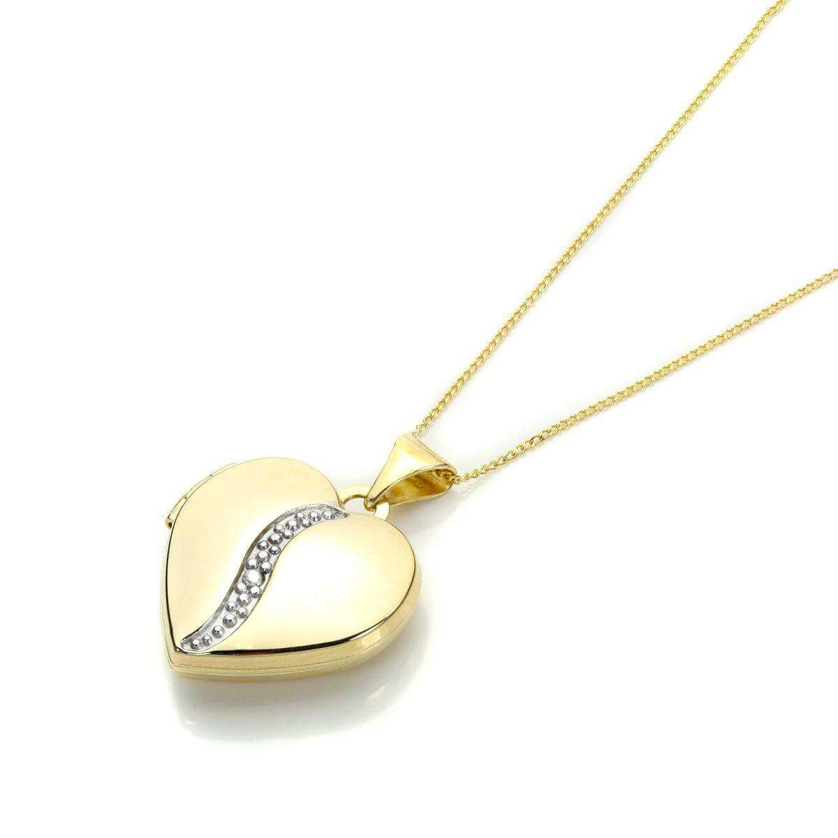 Yellow Gold Heart Shape Locket with Diamond
