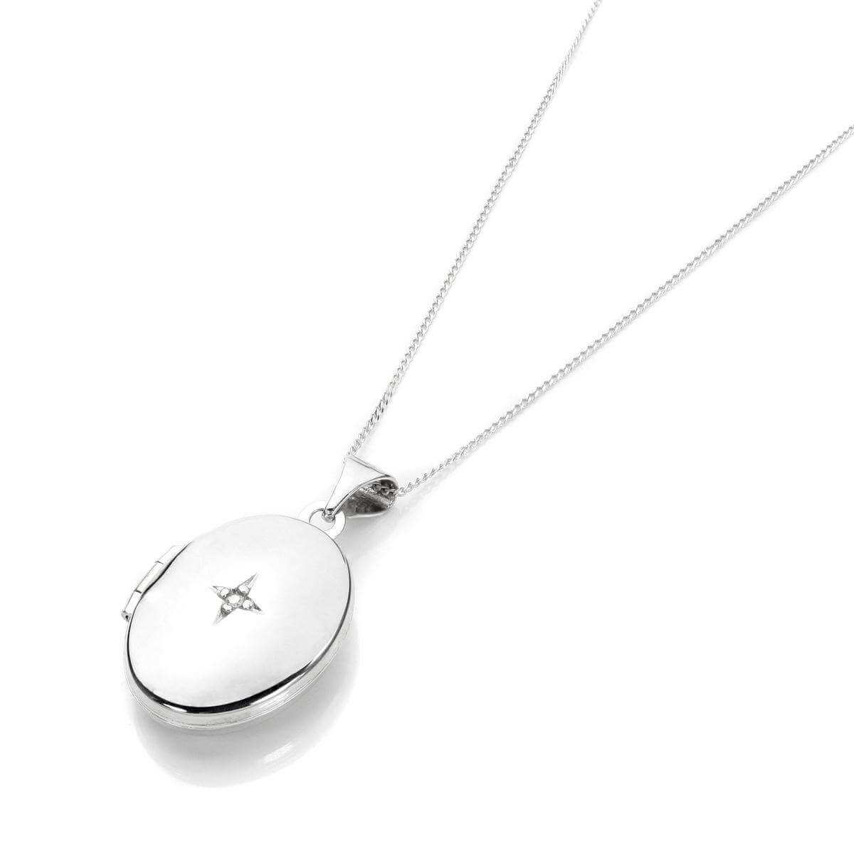 White Gold Oval Locket with Diamond