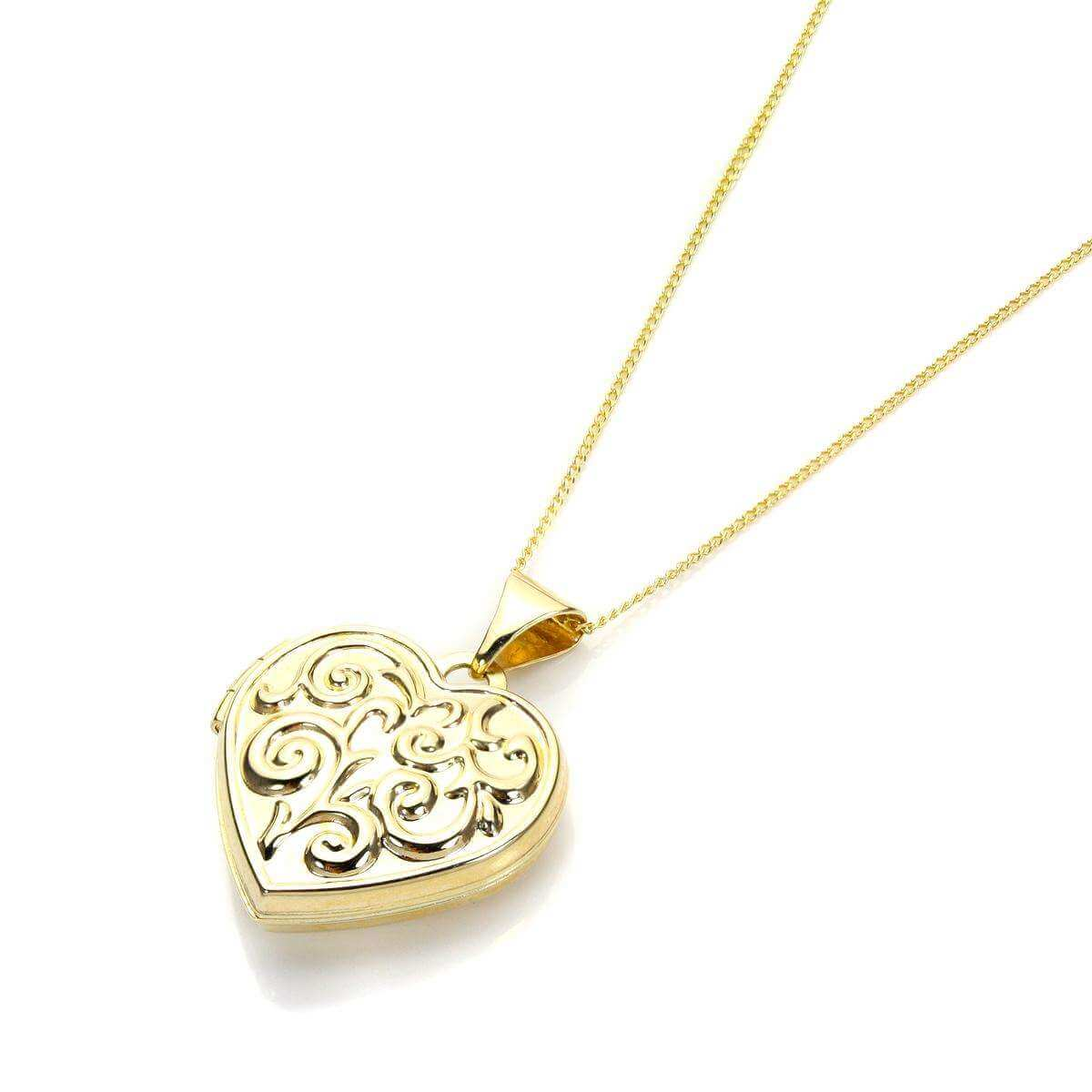 Yellow Gold Heart Shape Locket with design