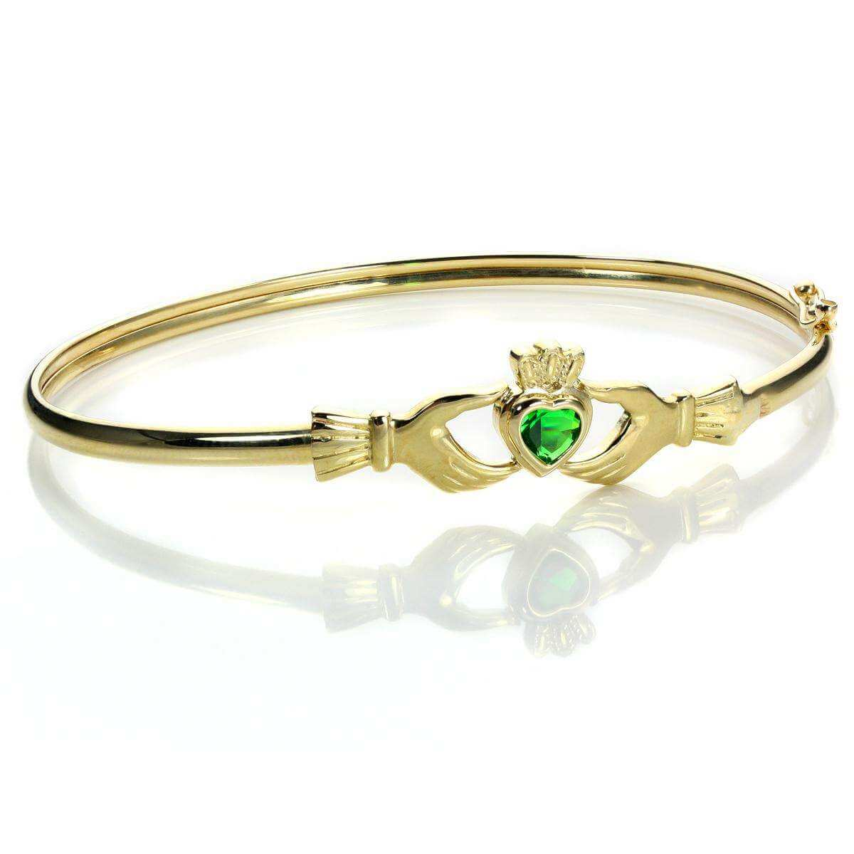9ct Gold Stone Set Claddagh Bangle