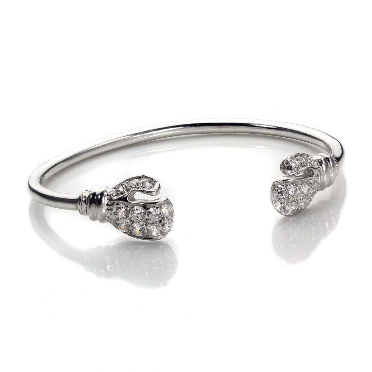 Silver Baby Crystal CZ Boxing Glove Bangle