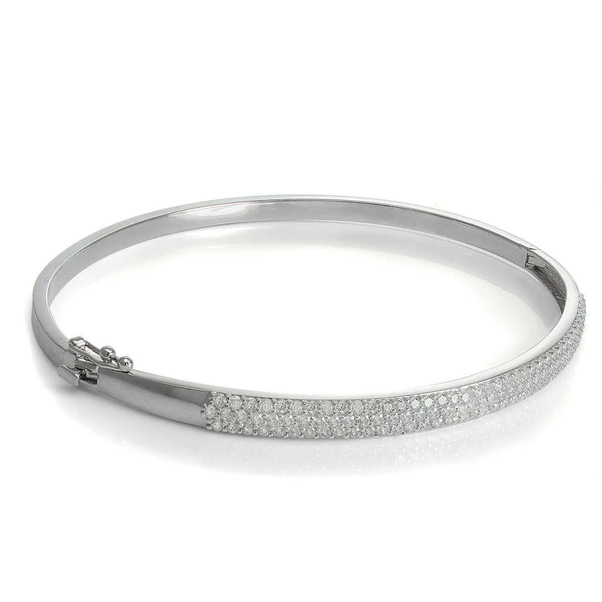 9ct White Gold CZ Crystal Hinged Bangle