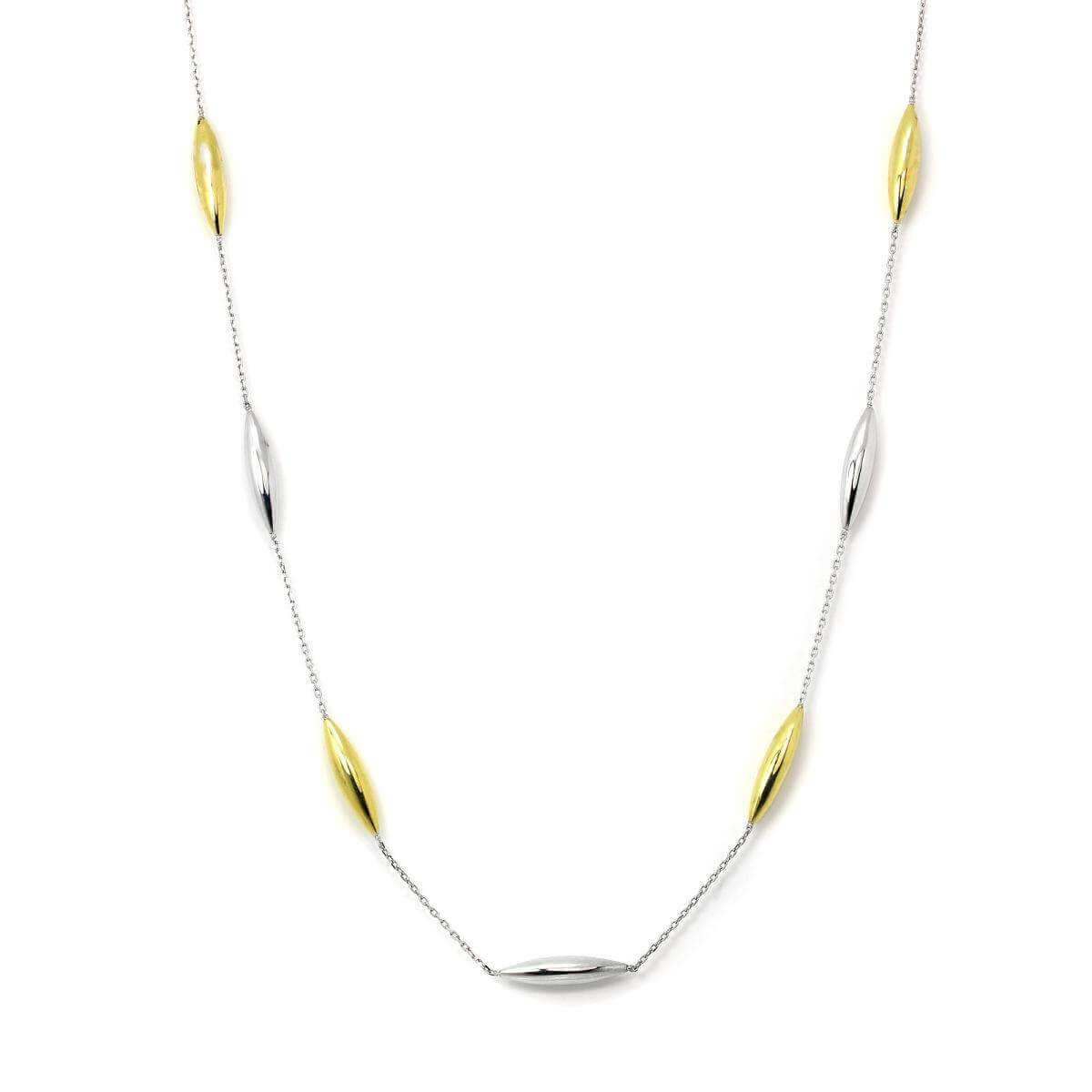 9ct Yellow & White Gold Fine 17 Inch Collarette Necklace wit