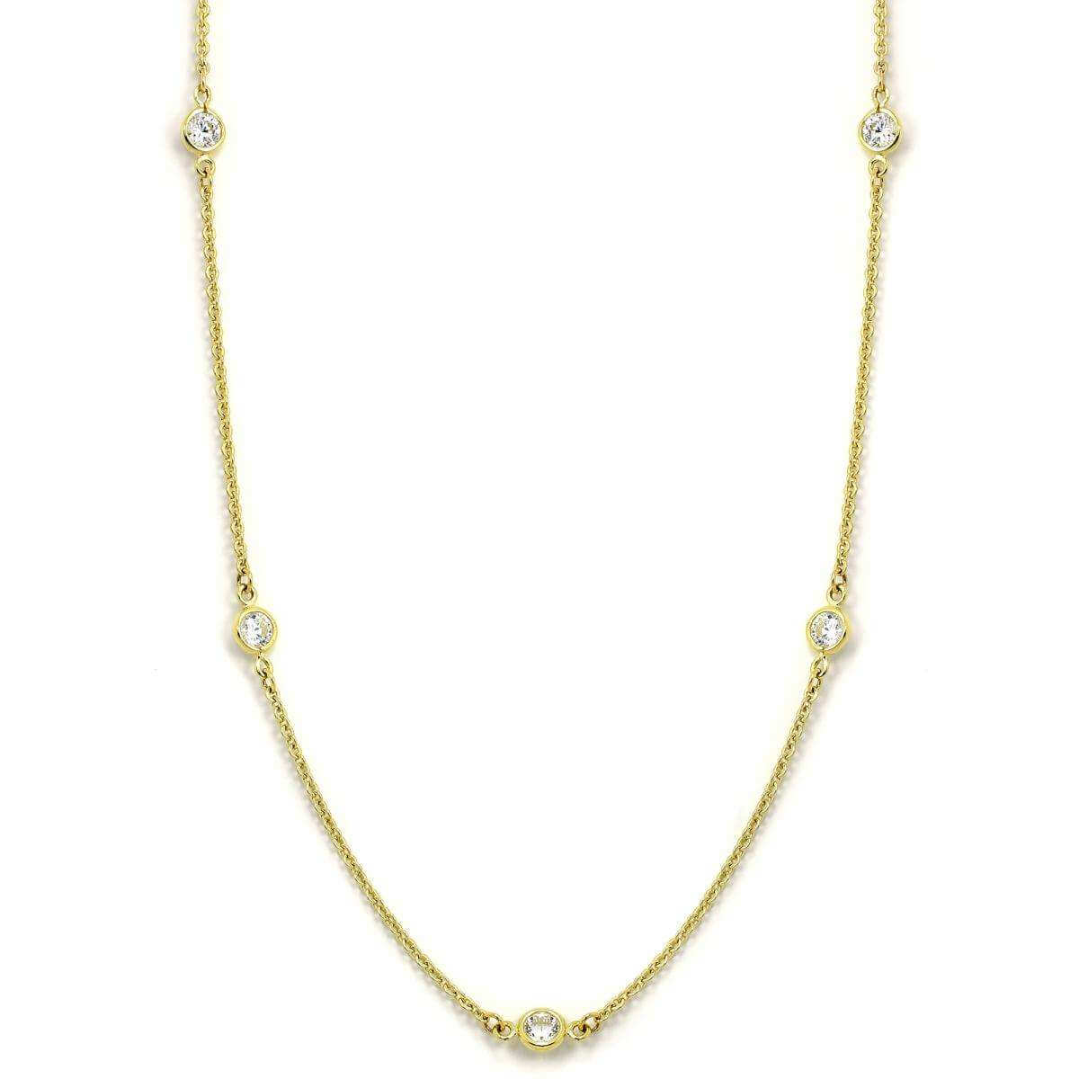9ct Gold & CZ Crystal Fine Belcher Chain 17 Inch Collarette