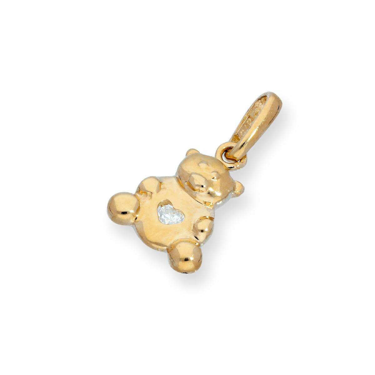 9ct Gold Teddy Bear w Clear CZ Crystal Heart Charm