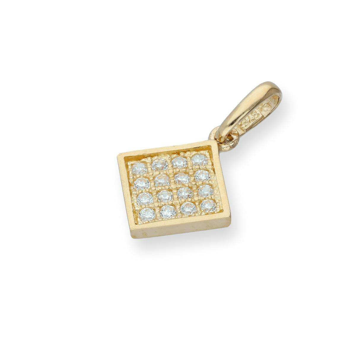 9ct Gold & Clear CZ Crystal Flat Square Charm