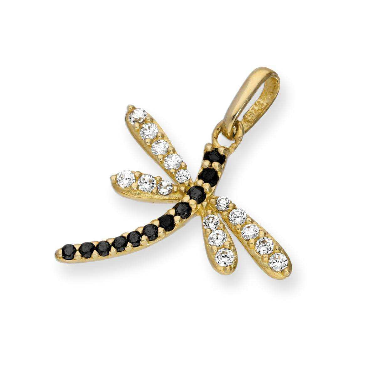 9ct Gold & CZ Crystal Dragonfly Charm