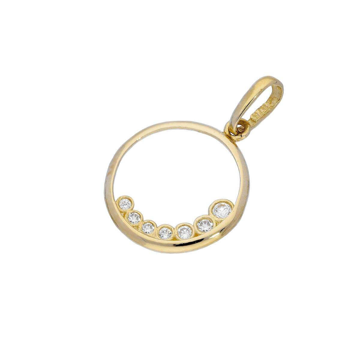 9ct Gold & Clear CZ Crystal Cut Out Circle Charm