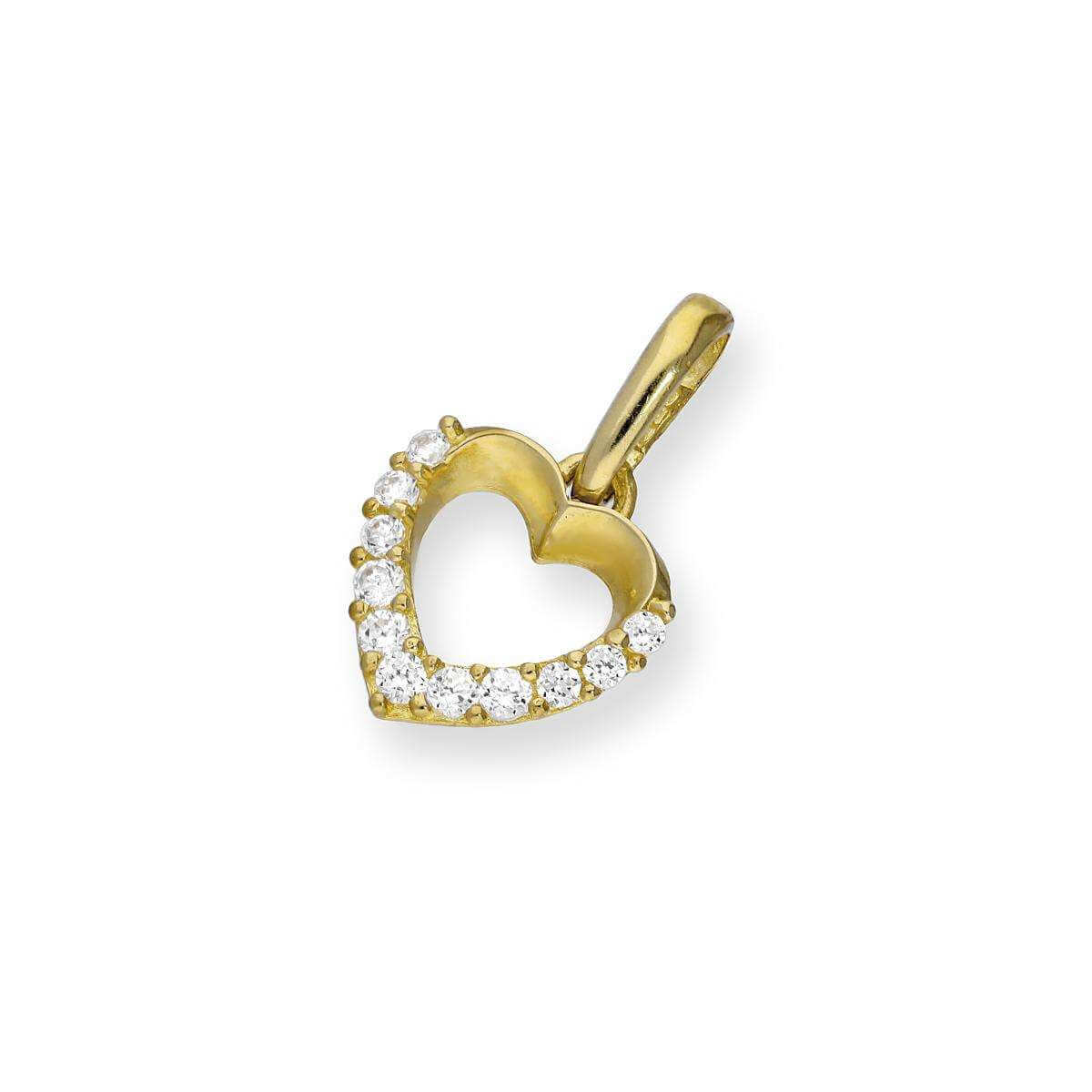 9ct Gold & Clear CZ Crystal Cut Out Heart Charm