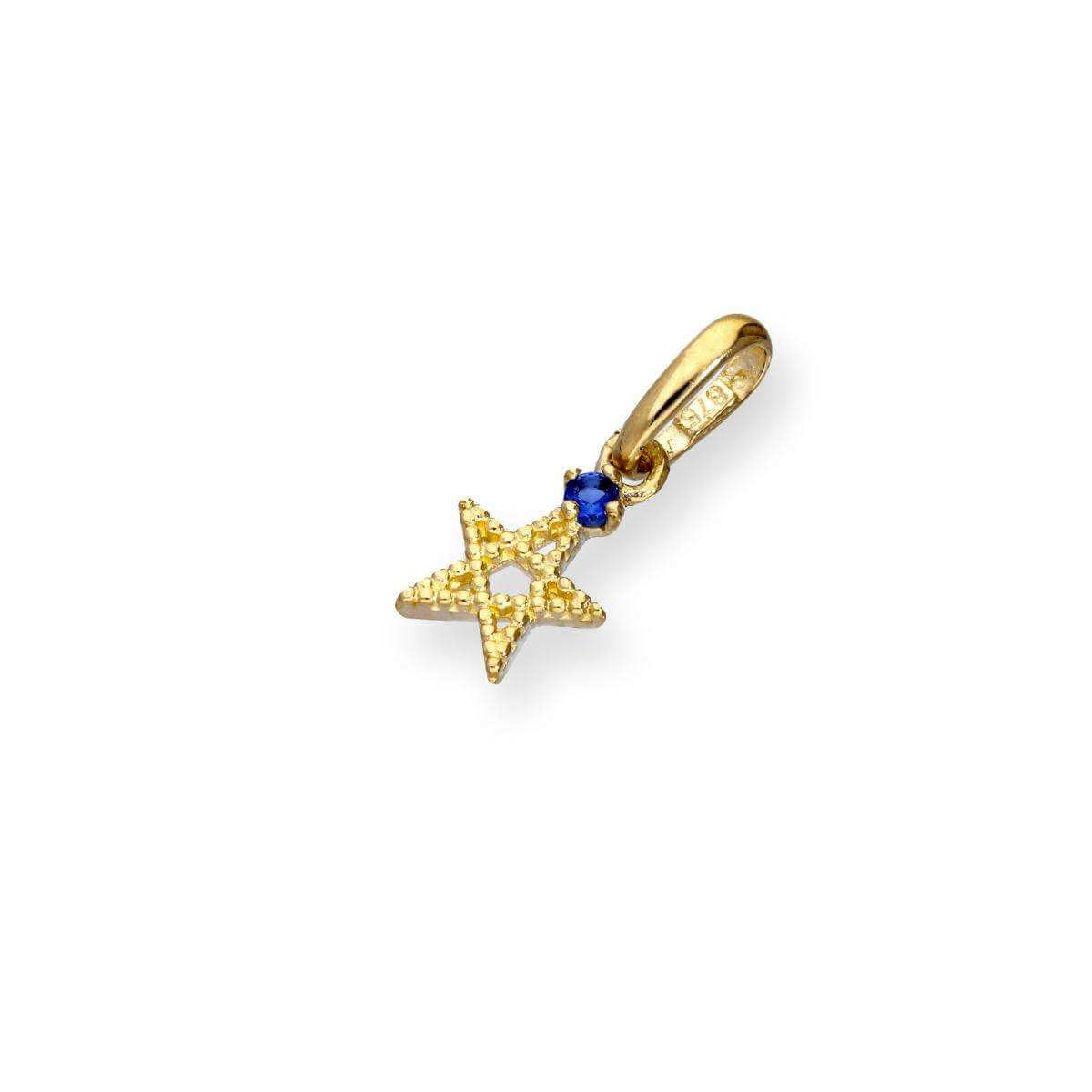 9ct Gold & Sapphire CZ Crystal Pentagram Star Charm