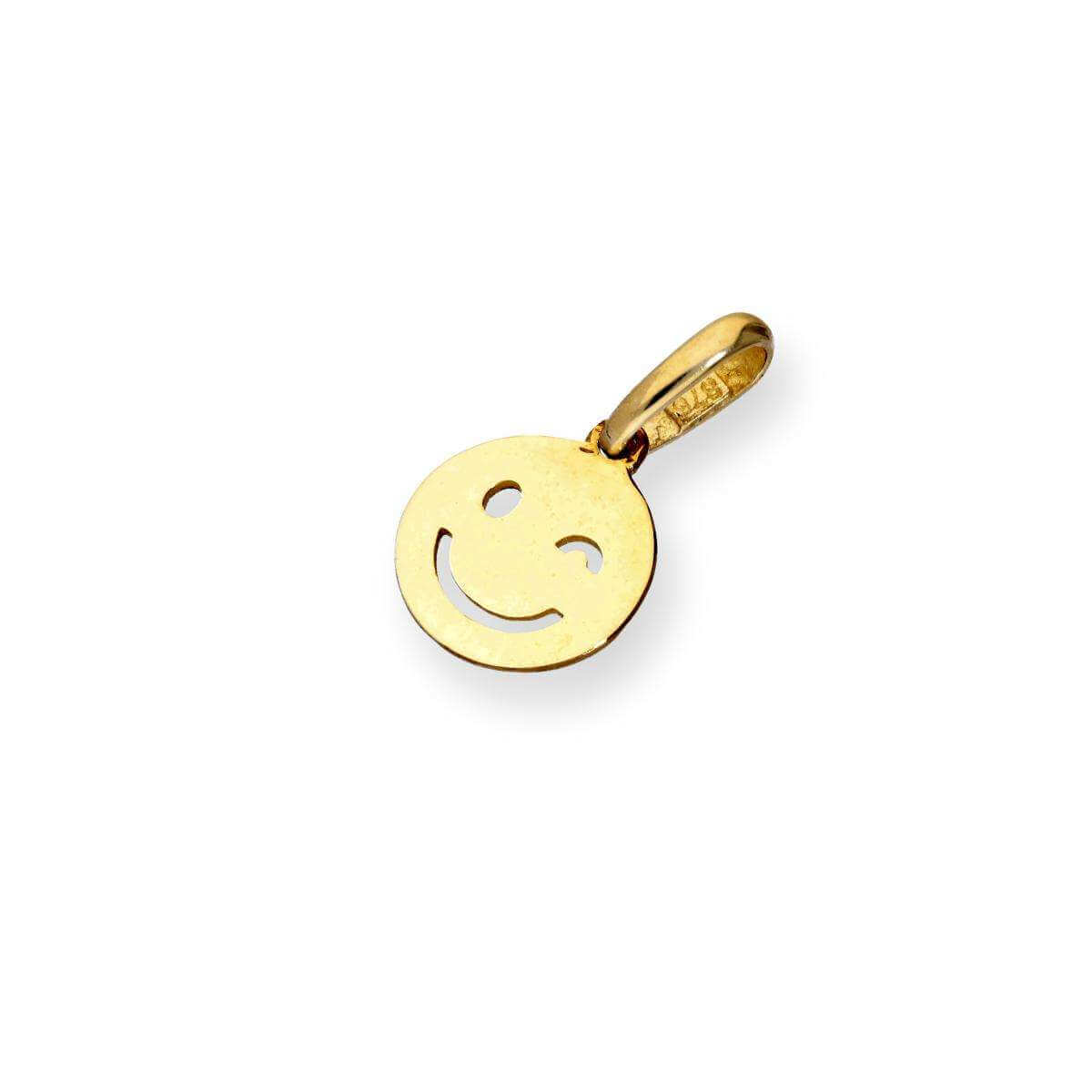9ct Gold Winking Smiley Face Charm