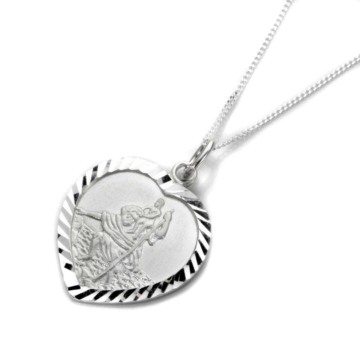 Personalised Sterling Silver St christopher Heart Necklace