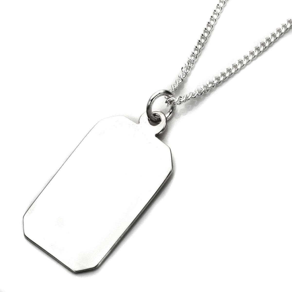 Sterling Silver Large Engravable Rectangular Pendant