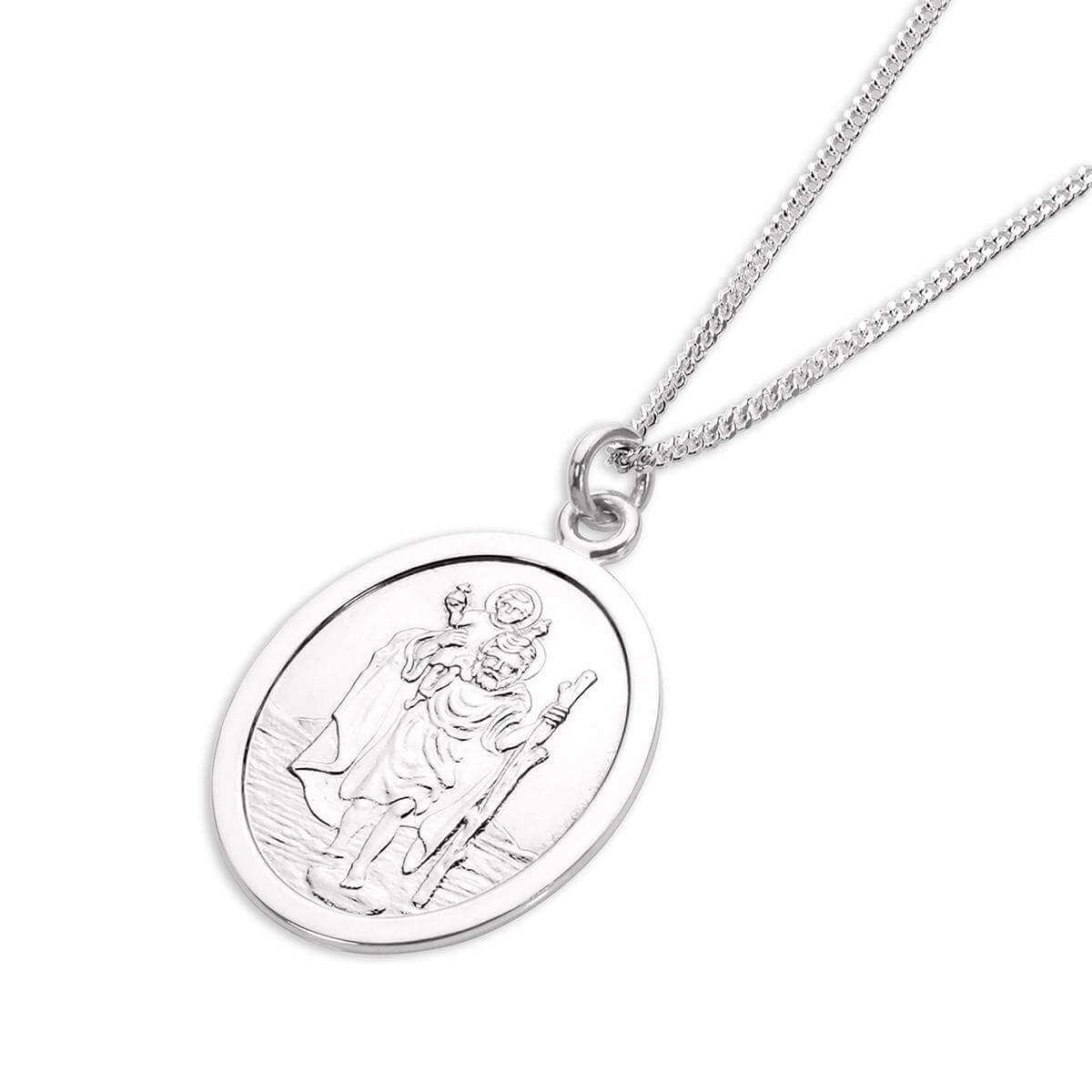 Sterling Silver Oval Saint Christopher Pendant