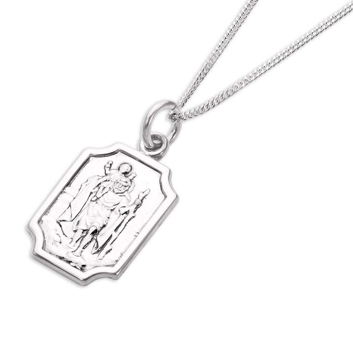 Sterling Silver Small Saint Christopher Plaque Pendant
