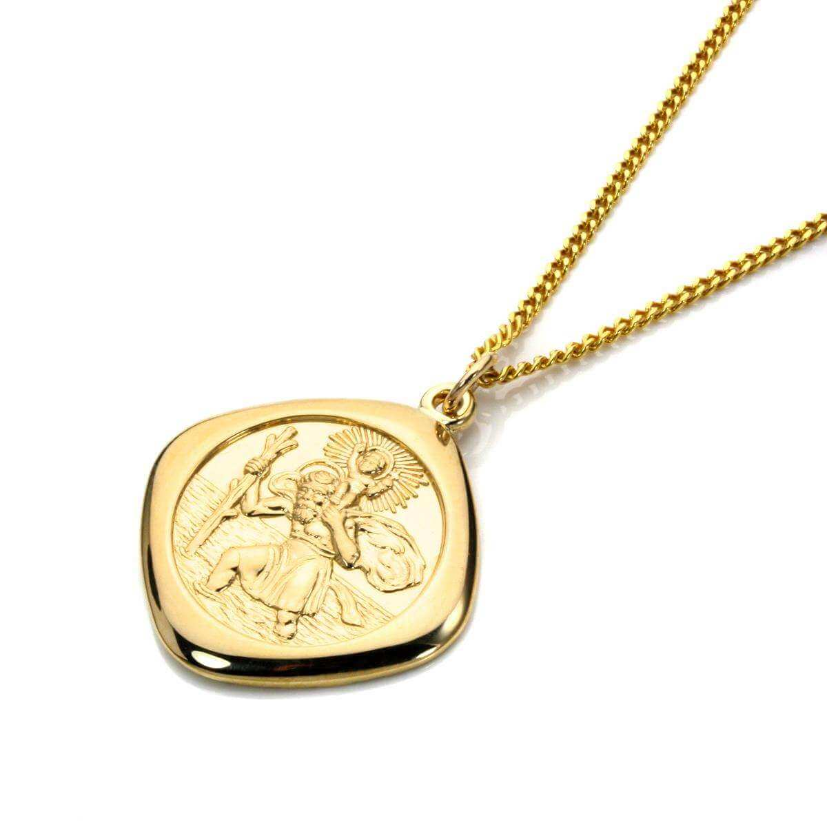 Gold Large Reversible Square Saint Christopher Pendant