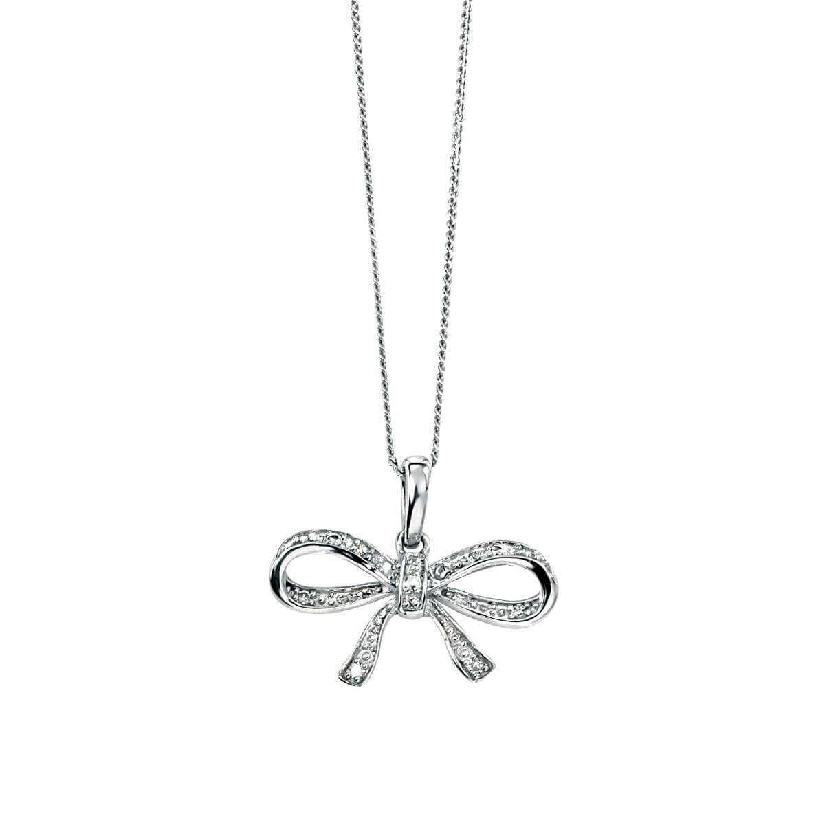 9ct White Gold and diamond Bow Necklace