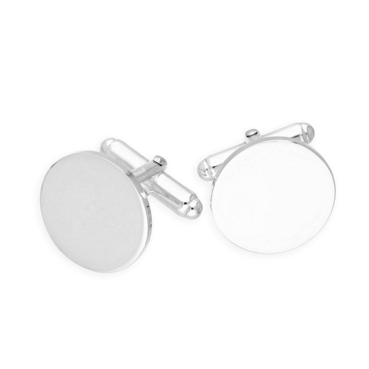 Sterling Silver Plain Engravable Round Cufflinks