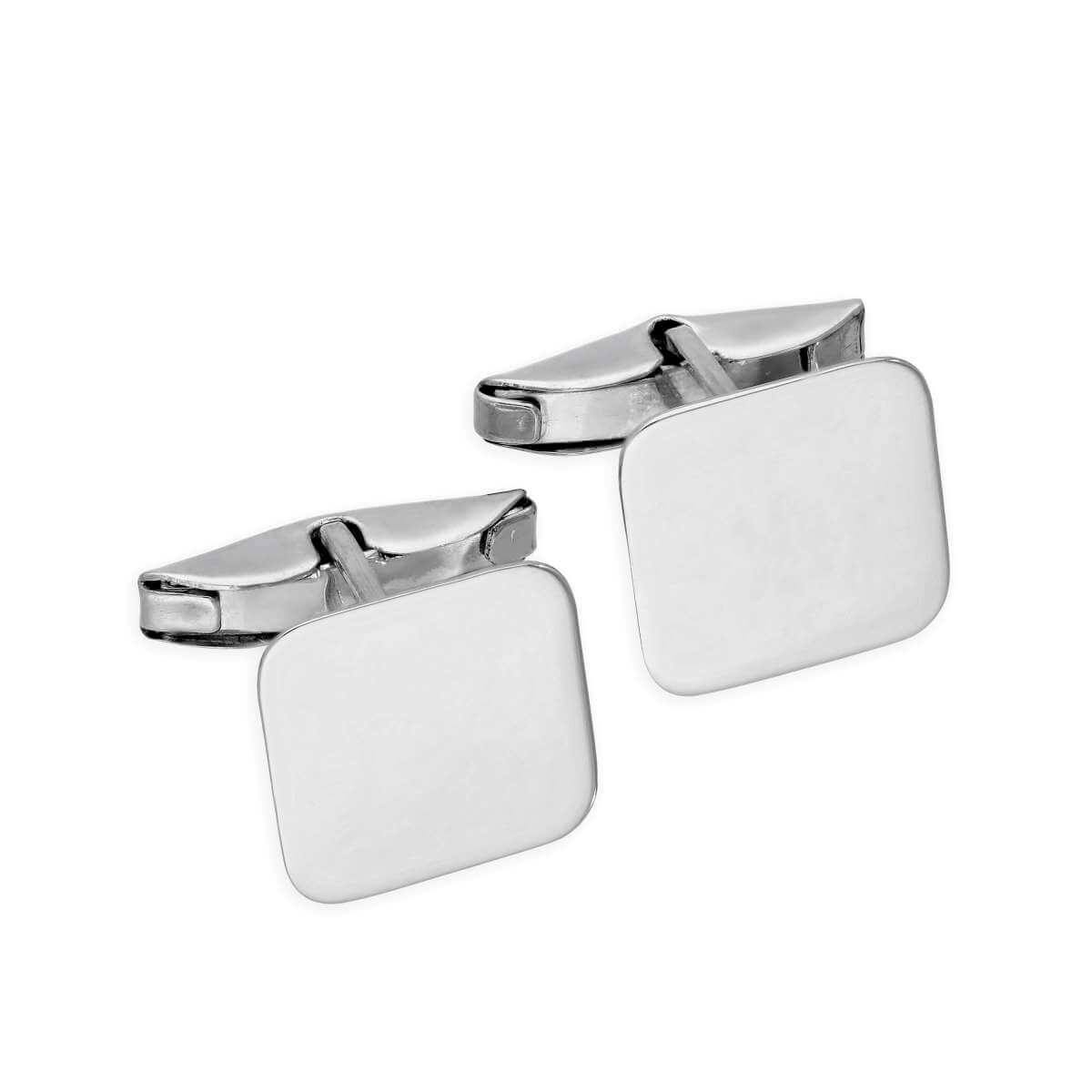 9ct White Gold Engravable Square Swivel Back Cufflinks