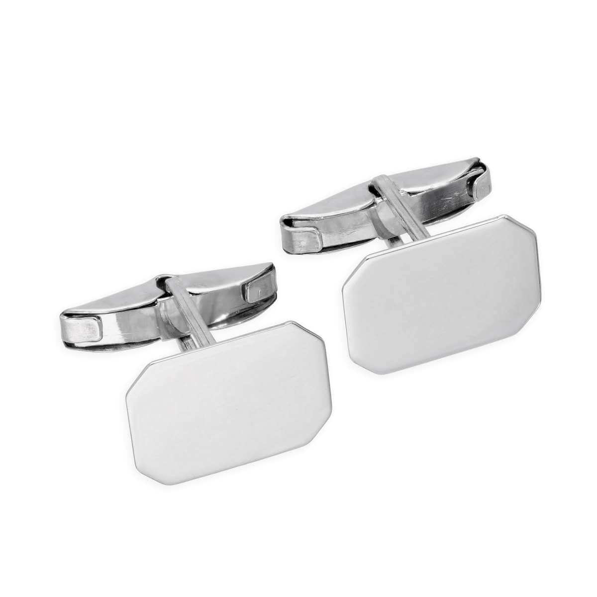9ct White Gold Engravable Octagonal Swivel Back Cufflinks
