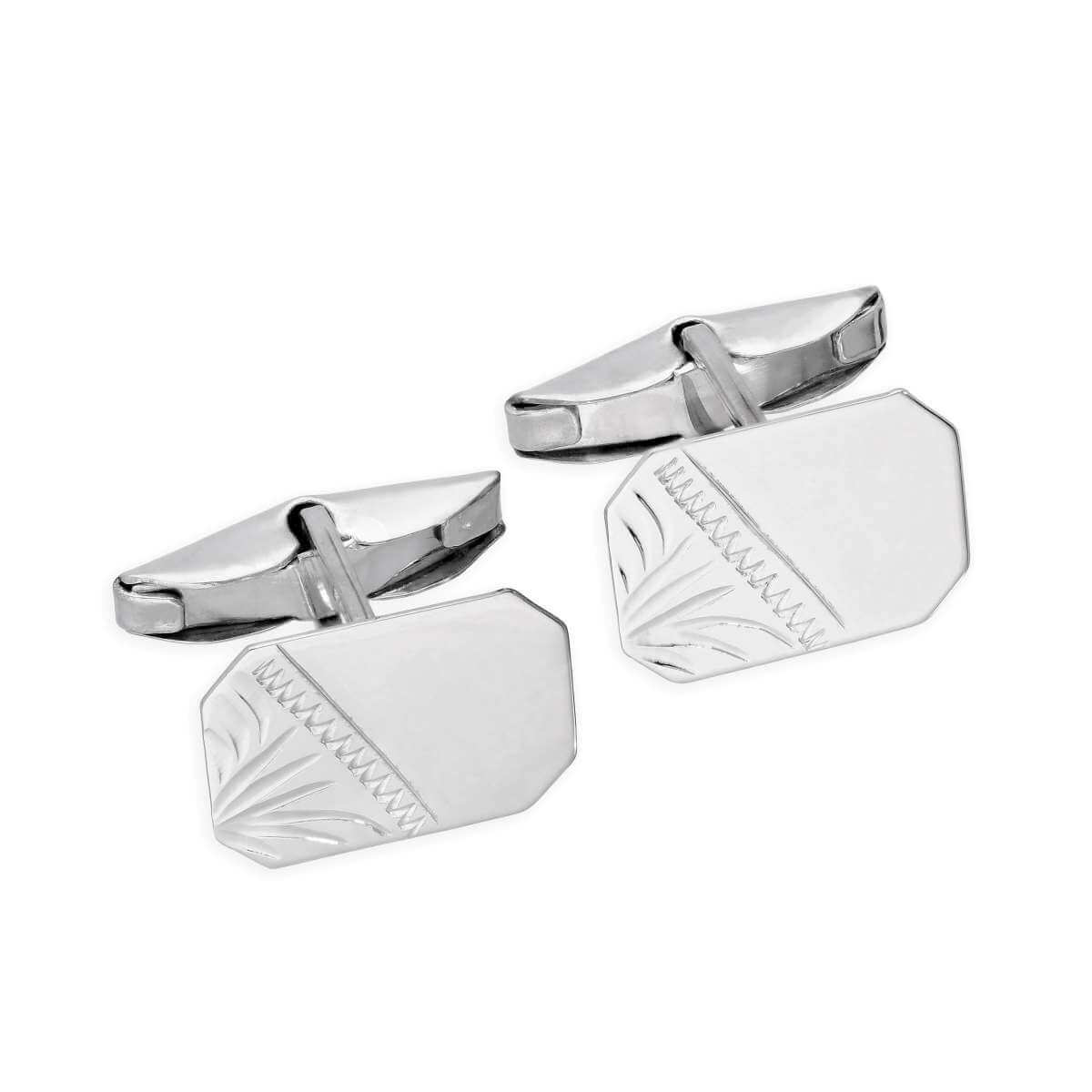 9ct White Gold Engraved Octagonal Swivel Back Cufflinks