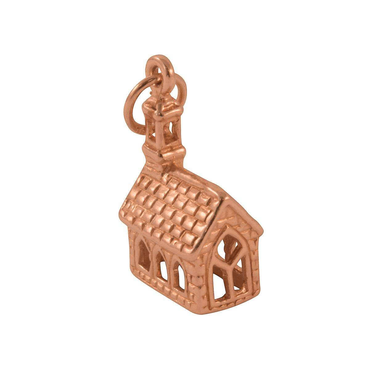 9ct Rose Gold Church Charm
