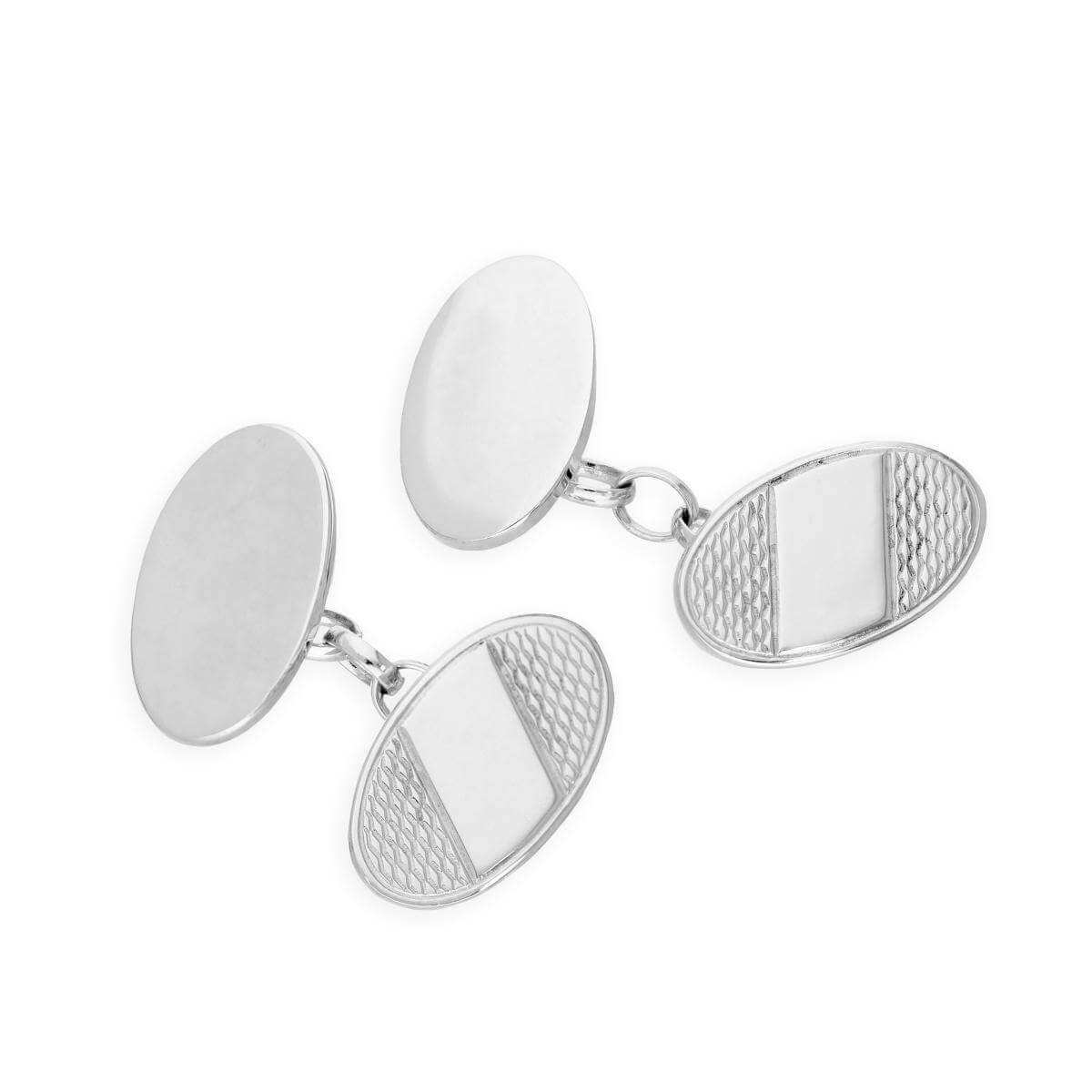 Sterling Silver Patterned Oval Cufflinks