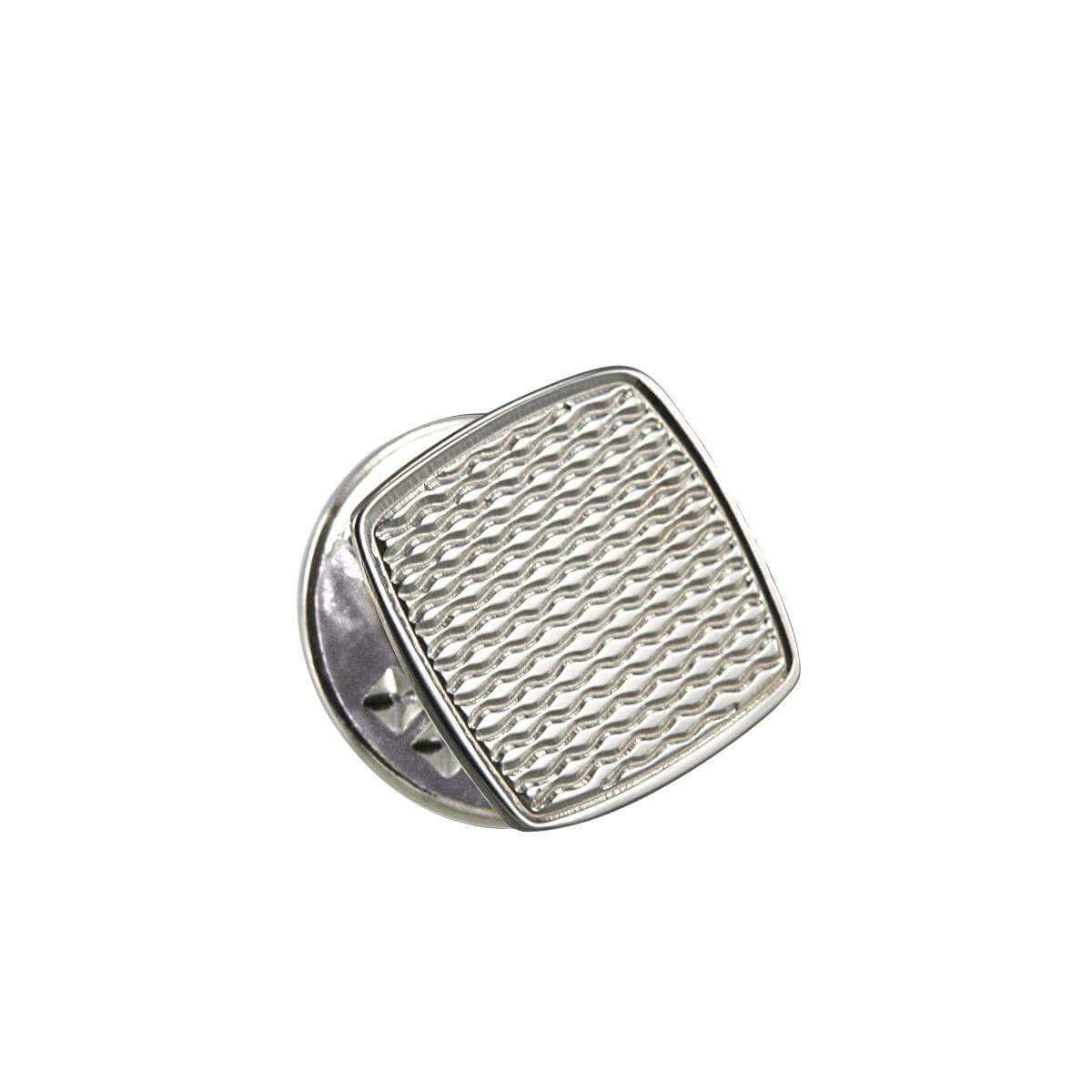 Sterling Silver Engine Turned Square Tie Tack