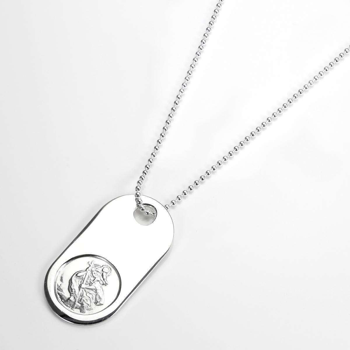 Sterling Silver Heavy St Christopher Dog Tag