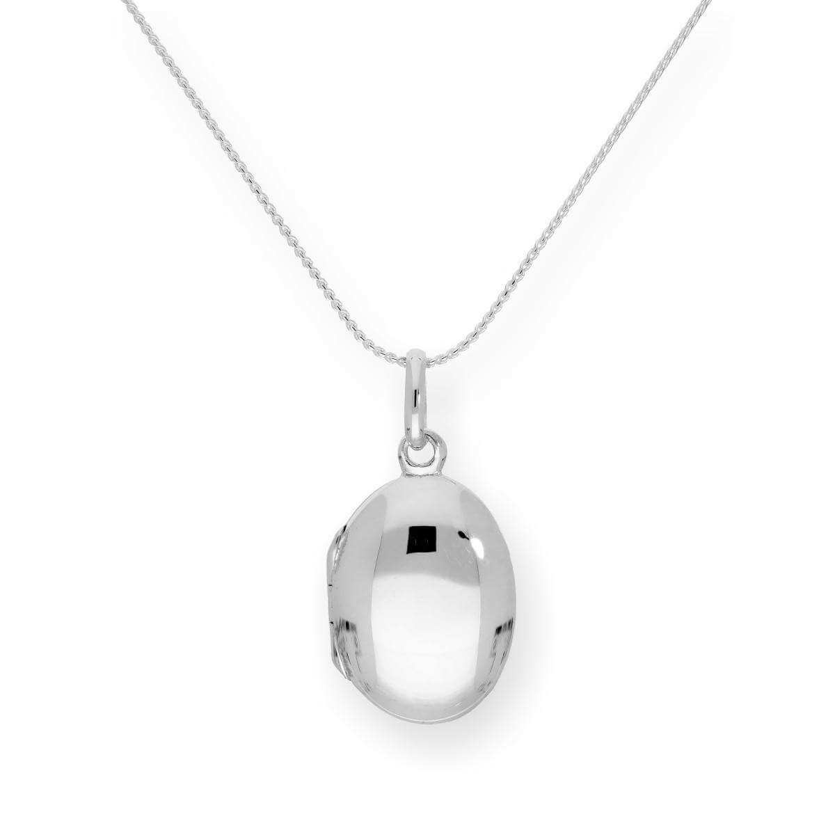 Sterling Silver Oval Engravable Locket on Chain 16 - 22 Inches