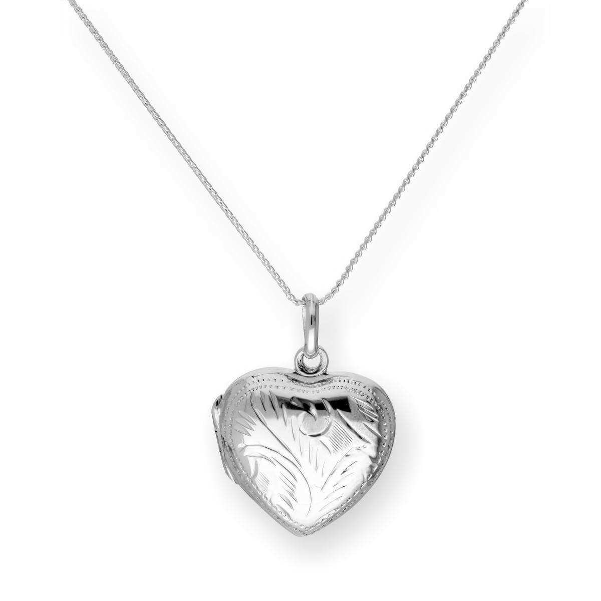Sterling Silver Engraved Heart Locket on Chain 16 -22 Inches