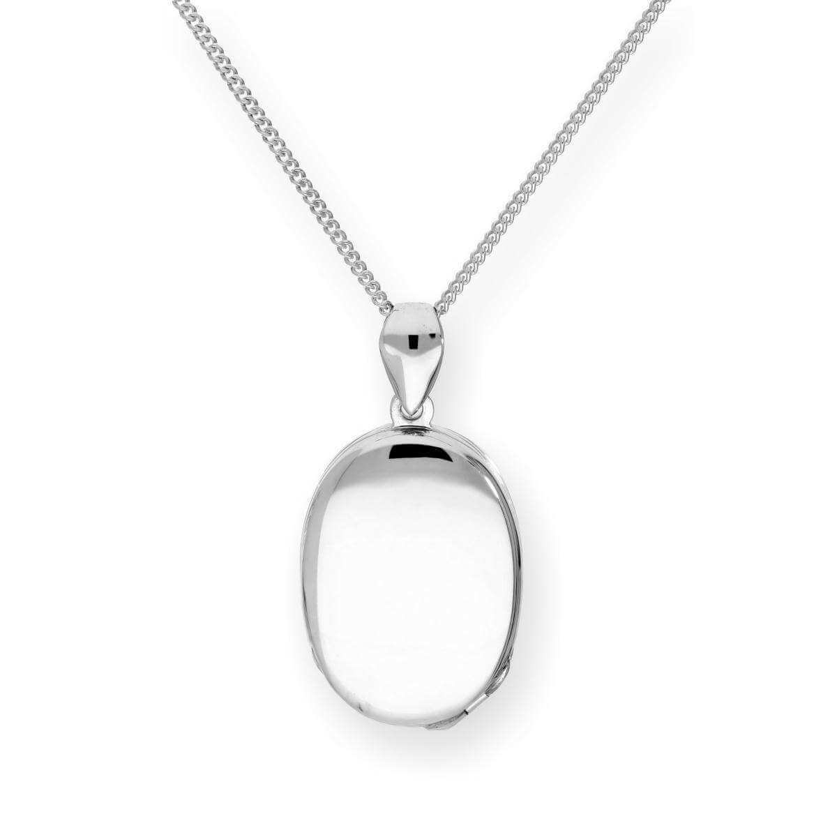 Sterling Silver 4 Photo Oval Family Locket on Chain 16 - 24 Inches