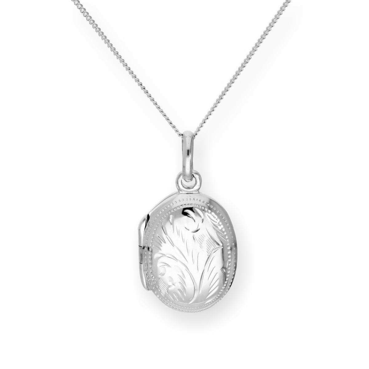 Sterling Silver Engraved Oval Locket 16 - 22 Inches
