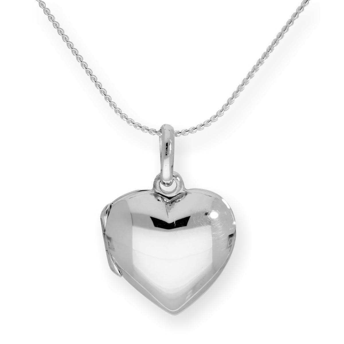 Sterling Silver Engravable Puffed Heart Locket on Chain 16 - 22 Inches