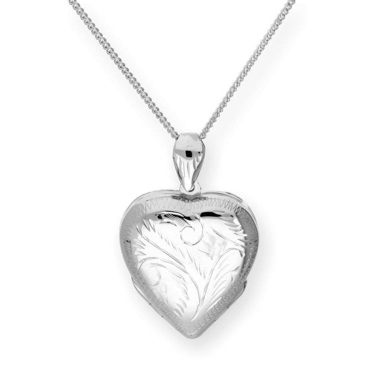 Large Sterling Silver 4 Photo Engraved Heart Family Locket on Chain 16-24 Inches