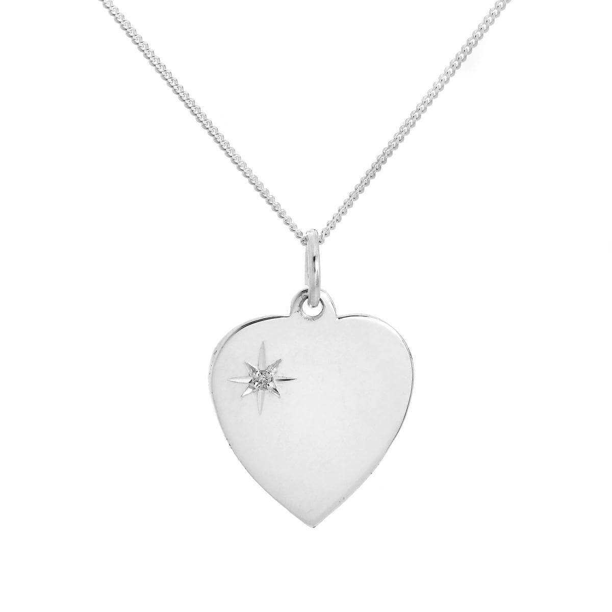 Sterling Silver & Diamond Engravable Heart Pendant Necklace