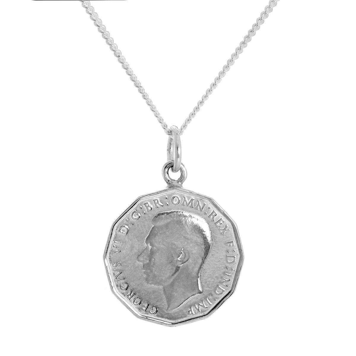 Sterling Silver Three Pence Pendant Necklace