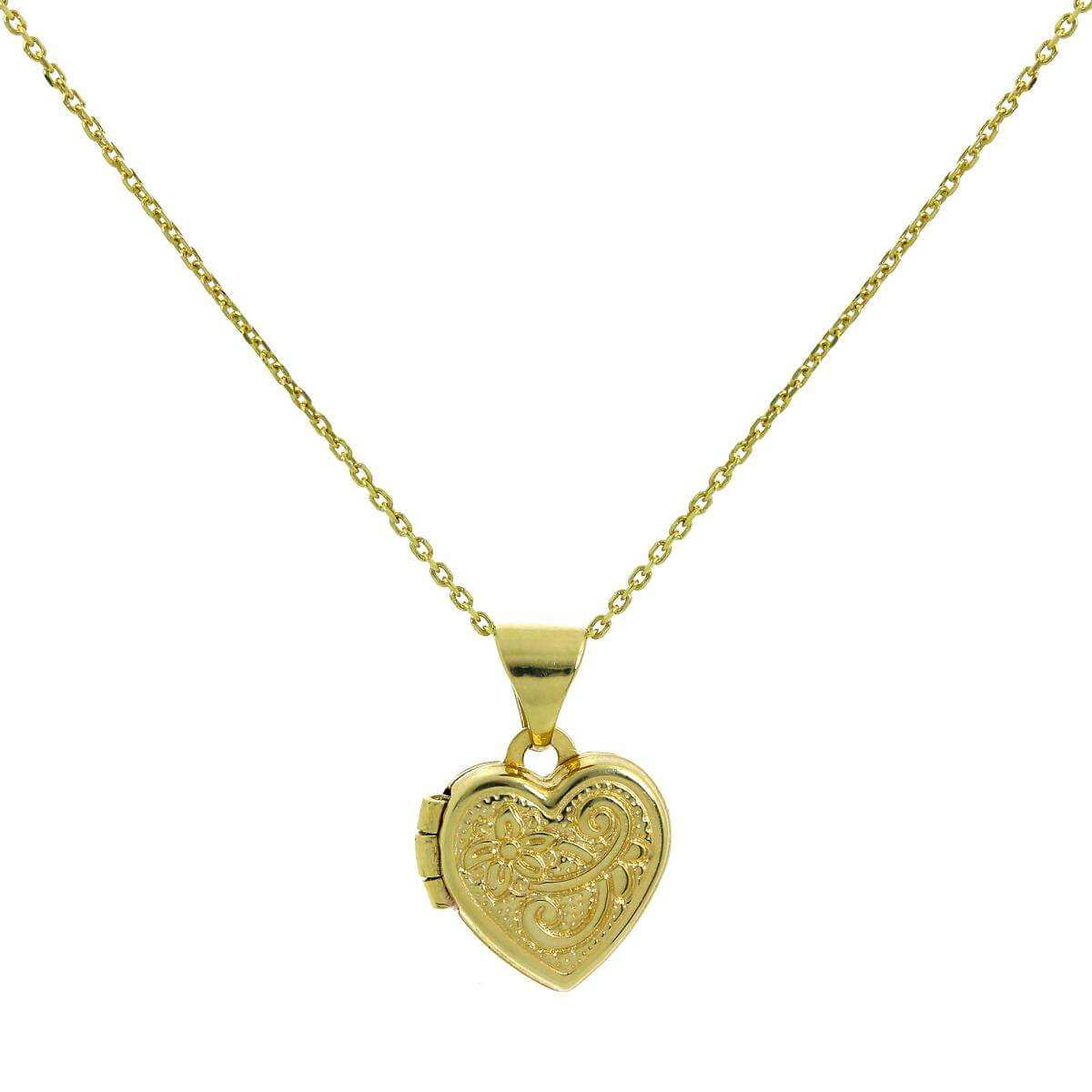 Tiny 9ct Gold Engraved Heart Locket on Chain