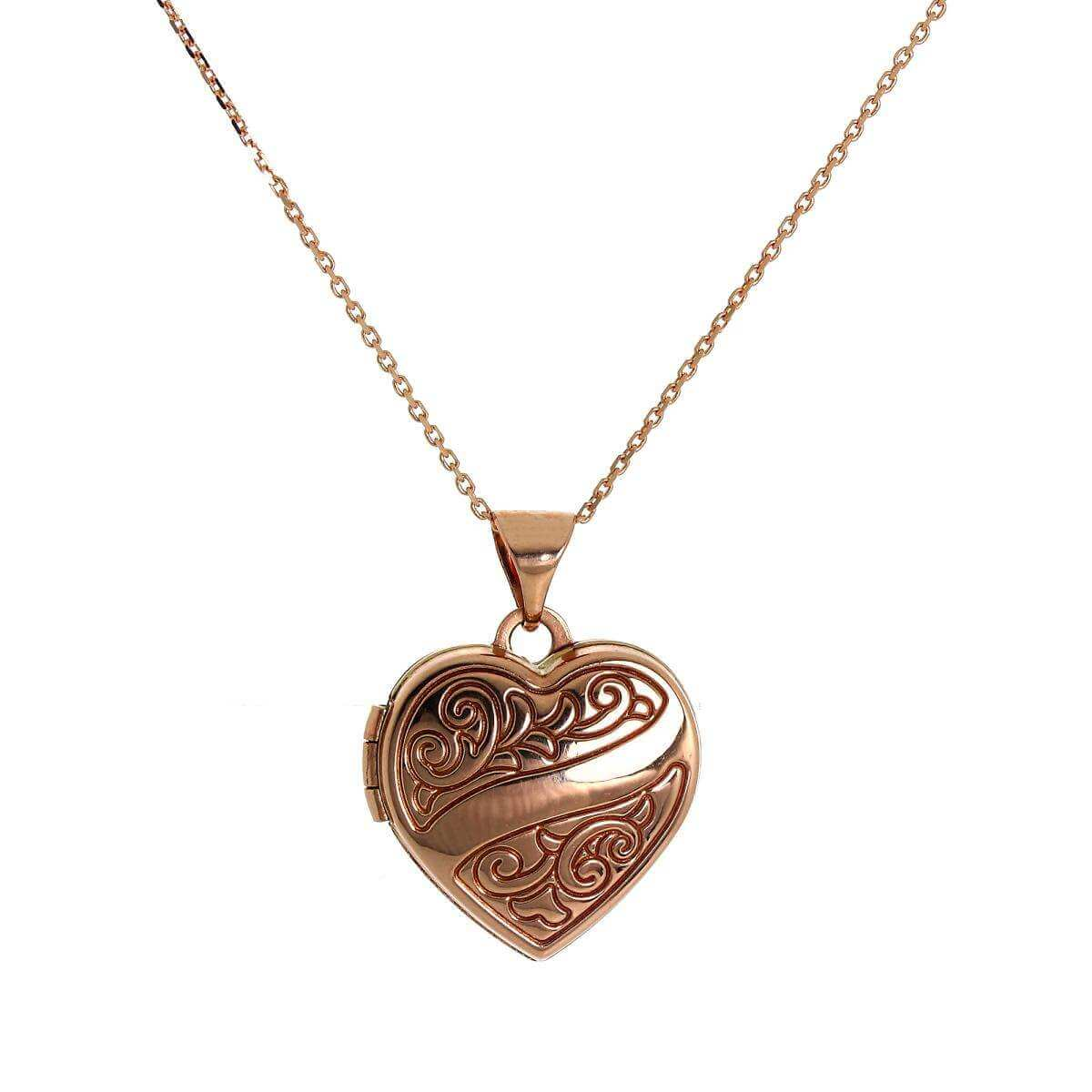9ct Rose Gold Engraved Heart Locket on Chain